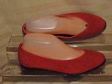 Lands End Women's 7 B Red Suede Leather Slip on Ballet Float Loafers EC