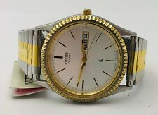 Citizen Quartz Mens Two Tone Stainless Steel Day Date Expansion Band Watch