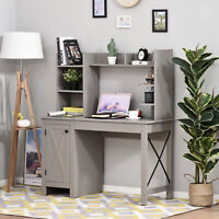 HOMCOM Computer Desk with Hutch and File Cabinet for Living Room, or Home Office