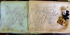 Vtg 50s Florence Italy Boxed 2 Embroidered Initial P Hanky Handkerchiefs Hankies