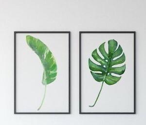 2 x Posters Monstera & Banana Leaves Set of 2 Tropical Exotic Modern Prints BOHO