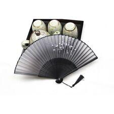 New Folding Hand Held Fan Black Fan Silk Plum Flower Bamboo Pocket Chinese Style