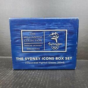 1996 Millennium Collection Sydney Icons Box Set 3 Olympic Highball Glasses 350mL