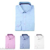 Mens Business Formal Oxford Long Sleeve Shirt Solid Dress Casual Shirt Tops