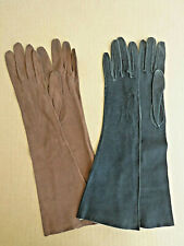 2 pair vtge suede gloves womens black 6.5, chestnut 6.75 Inv2844
