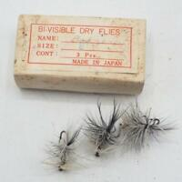 Vintage Badger Bi-Visible Dry Flies Lot Hand Tied Fly Fishing Japan