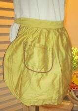 PRETTY VINTAGE APRON-GOLD FABRIC WITH BROWN TRIM