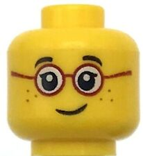 Lego New Yellow Minifigure Head Glasses with Red Round Frames Black Eyebrows