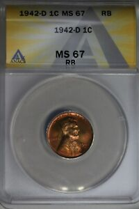 1942-D  .01  ANACS  MS 67 RB  Lincoln Head Cent, Lincoln One Cent