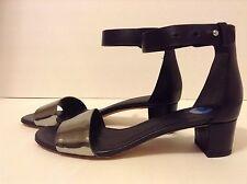 Vince Sz7.5US Remy Flat Heel Sandals Black/Pewter ankel closure NEW