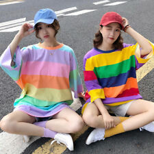 Lady Rainbow Cotton T-shirt Loose Casual Baggy Short Sleeve Top Fashion Harajuku