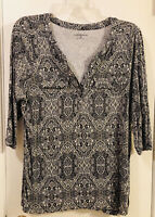 Women's CROFT & BARROW black & white 3/4 sleeve pullover blouse shirt top 1X