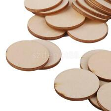 50pcs Unfinished Wooden Round Circle Discs Embellishments Art Crafts 30mm