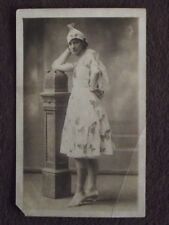 YOUNG WOMAN WEARING A BUTTERFLY DRESS & HAT Vtg 1920's REAL PHOTO POSTCARD