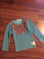 Swanky Baby Vintage ruffled bib front long sleeve top tee striped Size 2-3 BLUE