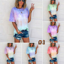 Women  Loose T-Shirt Tie-Dye Gradient  Shirts Short Sleeve Blouse Summer Tops