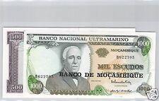 MOZAMBIQUE 500 ET 1000 ESCUDOS ND PICK 118a & 119a QUALITE