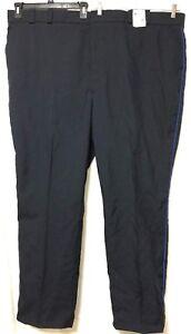 Horace Small Mens Black Blue Side Stripe TA2297 Polywool Uniform Pants Size 56R