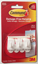 3M Command Micro Hooks Strips Damage Free Hanging Picture 1 x 3 Hold up to 225g