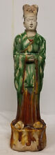 Antique Chinese Massive Han Tang Style Pottery Figure Attendant Man Sancai