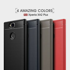 "For ""Sony Xperia XA2 Plus"" Shockproof Armor Carbon Fiber Hybrid Brush Case Cover"