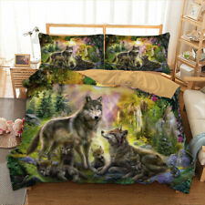 Wild Wolf Green Duvet Cover Set Twin/Queen/King Size Bedding Set Animal US