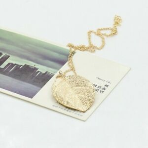 Metal gold colour leaf flat natural look gold leave pendant charm chain necklace