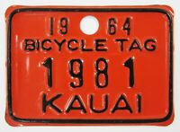 Vintage Kauai Hawaii Bicycle License Plate Tag (#1981) Metal 1964