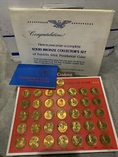 Solid Bronze Collector's Set Of Franklin Mint Presidential Coins 1968