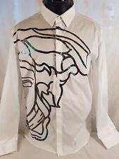 VERSACE Collection Bianco Olografica MEDUSA stampa del logo Maglietta EU 45 XXXL V300224