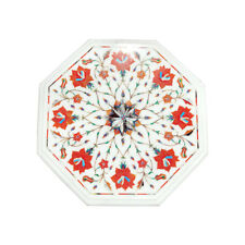 """Decorative Marble 12"""" Table Top Inlay Work Handmade Craft For Home Decor Gift"""