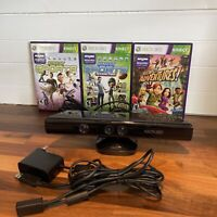 Microsoft Xbox 360 Kinect Sensor Camera Bundle Power Adapter 3 Games Complete