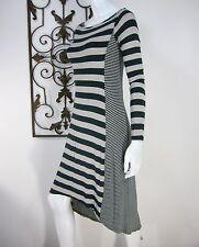Ella Moss Long Sleeve Hi LOW Scoop Neckline Dress Size S Gray Black Stripes