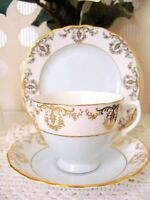 Vintage Royal Vale Bone China Tea Cup Saucer Side Plate Shabby Chic Blue Gold