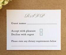 50 X Wedding RSVP Cards For Invitations *Envelopes Included* Insert Menu