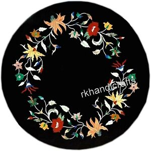14 Inches Floral Border Art Bed Side Table Top Round Shape Coffee Table for Home