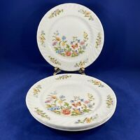 """AYNSLEY COTTAGE GARDEN PATTERN SALAD PLATES 8.25"""" SET OF 4 MADE IN ENGLAND"""