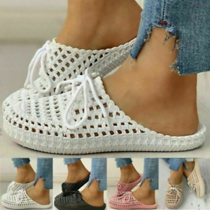 Womens Round Toe Soft Lace Up Slippers Hollow Out Sandals Comfy Shoes Beach