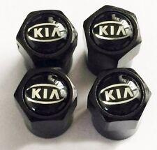 4 x Matt Black Tyre Valve Dust Caps (Fits KIA)