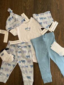 NWT Janie and Jack boy SPRING blue tiger socks hat bib 5/6-piece SET 3 6 9 12