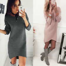 Womens Long Sleeve Pullover Tops Blouse T Shirt Hoodies Jumper Mini Dress Size