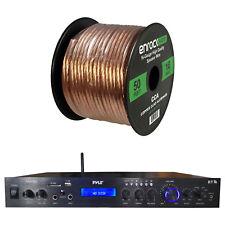 Pyle Home Amplified Bluetooth MP3 USB AUX FM Black Receiver, w/ 16-G 50 Ft Wire