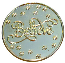 "1 3/4"" GOLD "" BELIEVE"" BROOCH FOR SANTA'S HAT"