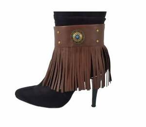 Brown Leather boot bracelet - fringe boot cuff - Concho Western Boot Jewelry