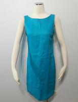 JUMP Pure Linen Aqua Blue Summer Shift Airey Dress Size 8 Made In Australia