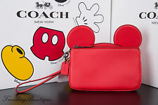 New Disney X Coach Wristlet in Glove Calf Leather with Mickey Ears Red F59529