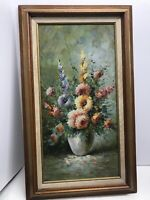 "Floral Oil on Canvas Painting Flowers in Vase Original Signed W. Adams 30"" X16"""