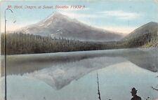 MT HOOD OREGON AT SUNSET~ELEVATION 11,932 FEET~POSTCARD 1910