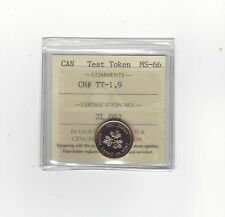 **Test Token**ICCS Graded Canadian,Small One Cent, **MS-66**TT-1.9 (TT-1.13)