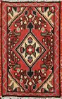 Vintage Geometric Traditional Oriental Area Rug Wool Hand-knotted Carpet 1x2 ft